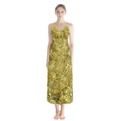 Melting Swirl F Button Up Chiffon Maxi Dress