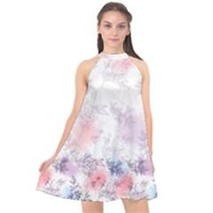 Misty Rose Florals Halter Neckline Chiffon Dress