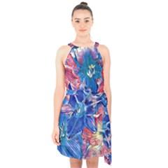 Wonderful Floral 22c Halter Collar Waist Tie Chiffon Dress