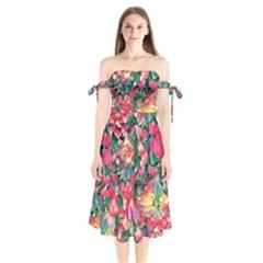 Wonderful Floral 24b Shoulder Tie Bardot Midi Dress