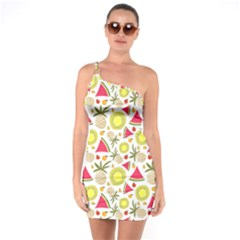 Summer Fruits Pattern One Soulder Bodycon Dress