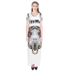 Funny Creepy Alien Headbones Small Short Sleeve Maxi Dress