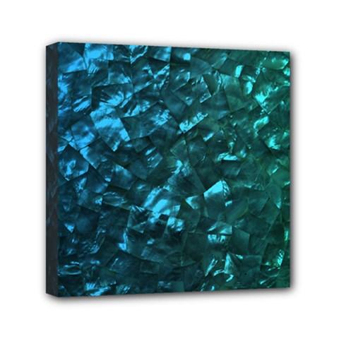 Ocean Blue and Aqua Mother of Pearl Nacre Pattern Mini Canvas 6  x 6