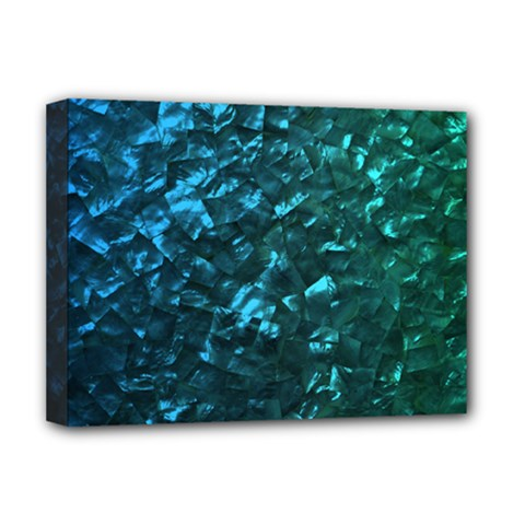 Ocean Blue and Aqua Mother of Pearl Nacre Pattern Deluxe Canvas 16  x 12