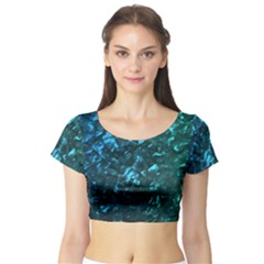Ocean Blue and Aqua Mother of Pearl Nacre Pattern Short Sleeve Crop Top (Tight Fit)