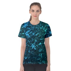 Ocean Blue and Aqua Mother of Pearl Nacre Pattern Women s Cotton Tee