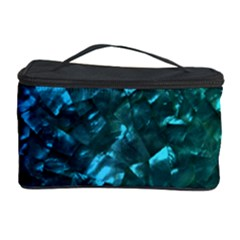 Ocean Blue and Aqua Mother of Pearl Nacre Pattern Cosmetic Storage Case