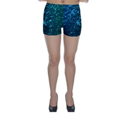 Ocean Blue and Aqua Mother of Pearl Nacre Pattern Skinny Shorts