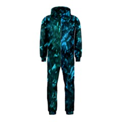 Ocean Blue and Aqua Mother of Pearl Nacre Pattern Hooded Jumpsuit (Kids)