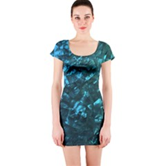 Ocean Blue and Aqua Mother of Pearl Nacre Pattern Short Sleeve Bodycon Dress