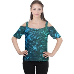 Ocean Blue and Aqua Mother of Pearl Nacre Pattern Women s Cutout Shoulder Tee