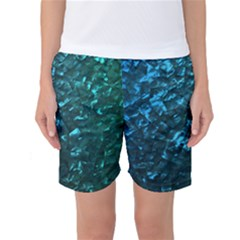 Ocean Blue and Aqua Mother of Pearl Nacre Pattern Women s Basketball Shorts