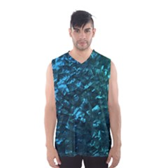 Ocean Blue and Aqua Mother of Pearl Nacre Pattern Men s Basketball Tank Top