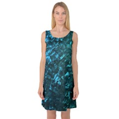 Ocean Blue and Aqua Mother of Pearl Nacre Pattern Sleeveless Satin Nightdress