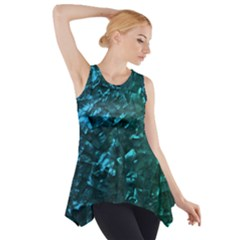 Ocean Blue and Aqua Mother of Pearl Nacre Pattern Side Drop Tank Tunic