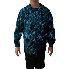 Ocean Blue and Aqua Mother of Pearl Nacre Pattern Hooded Wind Breaker (Kids)