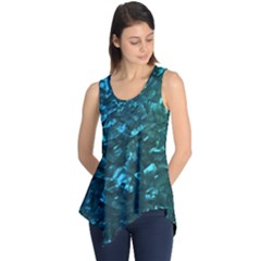 Ocean Blue and Aqua Mother of Pearl Nacre Pattern Sleeveless Tunic