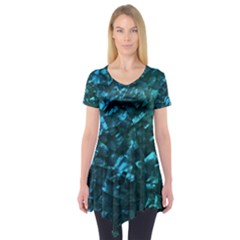 Ocean Blue and Aqua Mother of Pearl Nacre Pattern Short Sleeve Tunic