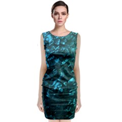Ocean Blue and Aqua Mother of Pearl Nacre Pattern Classic Sleeveless Midi Dress