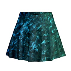 Ocean Blue and Aqua Mother of Pearl Nacre Pattern Mini Flare Skirt