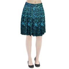 Ocean Blue and Aqua Mother of Pearl Nacre Pattern Pleated Skirt