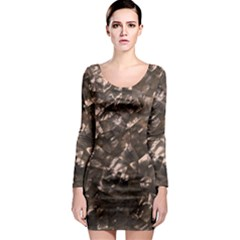 Glitter Rose Gold Shimmering Mother of Pearl Nacre Long Sleeve Bodycon Dress
