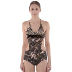 Glitter Rose Gold Shimmering Mother of Pearl Nacre Cut-Out One Piece Swimsuit