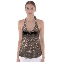 Glitter Rose Gold Shimmering Mother of Pearl Nacre Babydoll Tankini Top