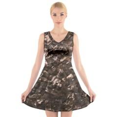Glitter Rose Gold Shimmering Mother Of Pearl Nacre V Neck Sleeveless Skater Dress