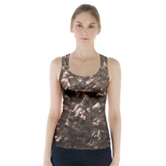 Glitter Rose Gold Shimmering Mother of Pearl Nacre Racer Back Sports Top