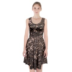 Glitter Rose Gold Shimmering Mother of Pearl Nacre Racerback Midi Dress