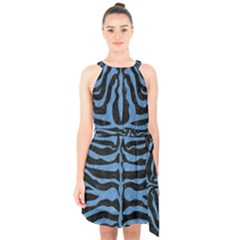 Skin2 Black Marble & Blue Colored Pencil Halter Collar Waist Tie Chiffon Dress