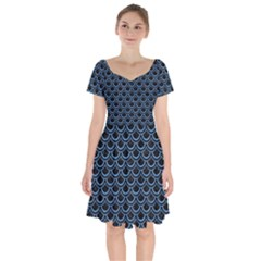 Scales2 Black Marble & Blue Colored Pencil Short Sleeve Bardot Dress