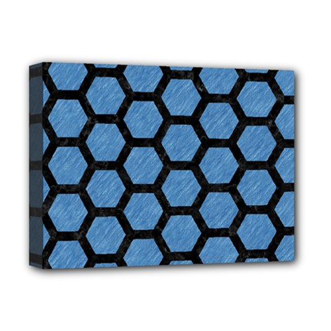 Hexagon2 Black Marble & Blue Colored Pencil (r) Deluxe Canvas 16  X 12  (stretched)