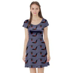 Creepy Cute Bats Short Sleeve Skater Dress