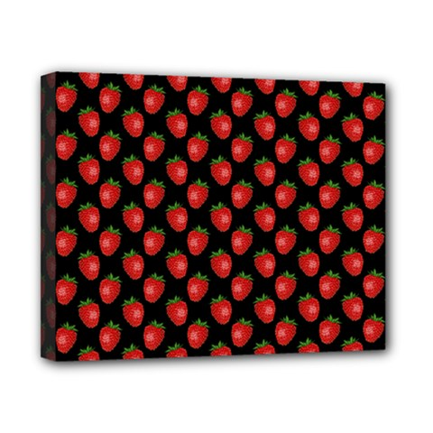 Fresh Bright Red Strawberries on Black Pattern Canvas 10  x 8