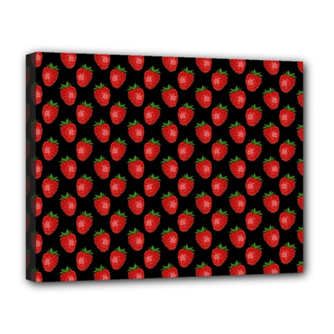 Fresh Bright Red Strawberries on Black Pattern Canvas 14  x 11