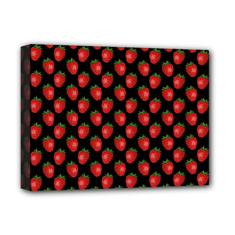 Fresh Bright Red Strawberries on Black Pattern Deluxe Canvas 16  x 12