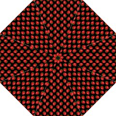 Fresh Bright Red Strawberries on Black Pattern Hook Handle Umbrellas (Large)