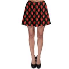 Fresh Bright Red Strawberries on Black Pattern Skater Skirt