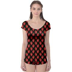 Fresh Bright Red Strawberries on Black Pattern Boyleg Leotard