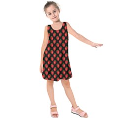 Fresh Bright Red Strawberries on Black Pattern Kids  Sleeveless Dress