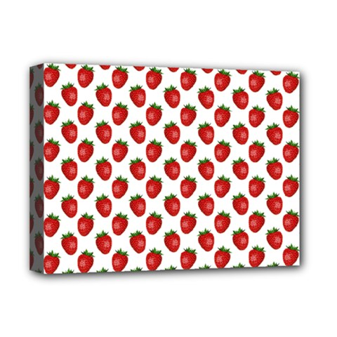 Fresh Bright Red Strawberries on White Pattern Deluxe Canvas 16  x 12