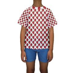 Fresh Bright Red Strawberries on White Pattern Kids  Short Sleeve Swimwear