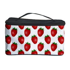Fresh Bright Red Strawberries on White Pattern Cosmetic Storage Case