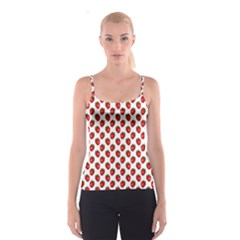 Fresh Bright Red Strawberries on White Pattern Spaghetti Strap Top