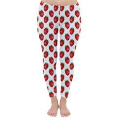 Fresh Bright Red Strawberries on White Pattern Classic Winter Leggings