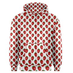 Fresh Bright Red Strawberries on White Pattern Men s Zipper Hoodie