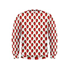 Fresh Bright Red Strawberries on White Pattern Kids  Sweatshirt