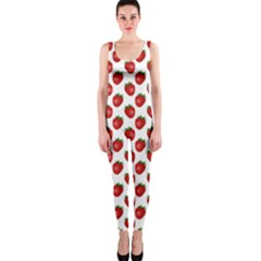Fresh Bright Red Strawberries on White Pattern OnePiece Catsuit